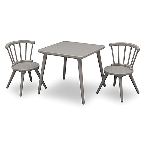Delta Children Windsor 3-Piece Table and Chair Set in Grey - buybuy BABY