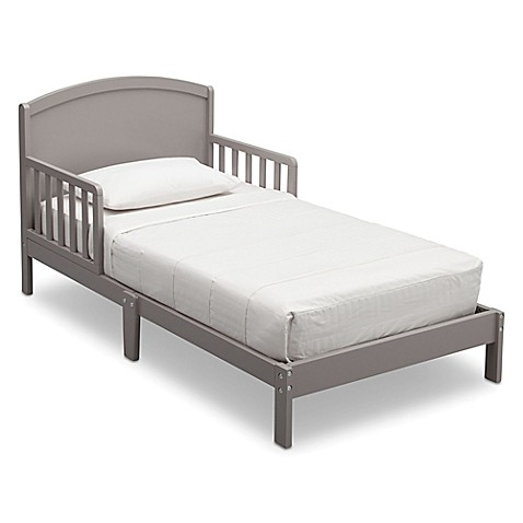 Delta Children Abby Pinewood Toddler Bed In Grey