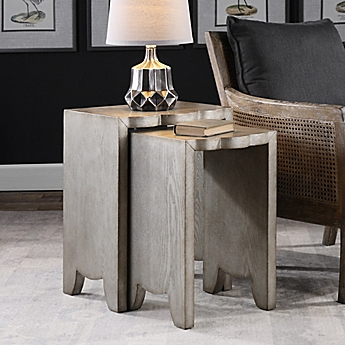 Image Of Uttermost Imala Nesting Tables In Burnished Silver (Set Of 2)