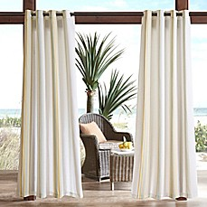 Madison Park Newport Printed Stripe 3M Scotchgard Grommet Top Outdoor Curtain Panel
