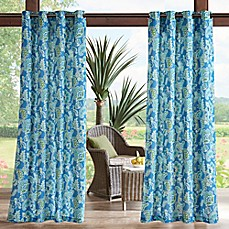 image of Madison Park Carillo Printed Floral 3M Scotchgard Grommet Top Outdoor Curtain Panel