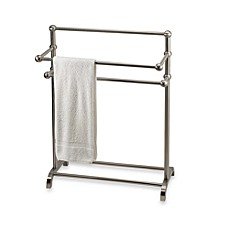 image of 3tier free standing towel stand in satin nickel - Towel Warmer Rack