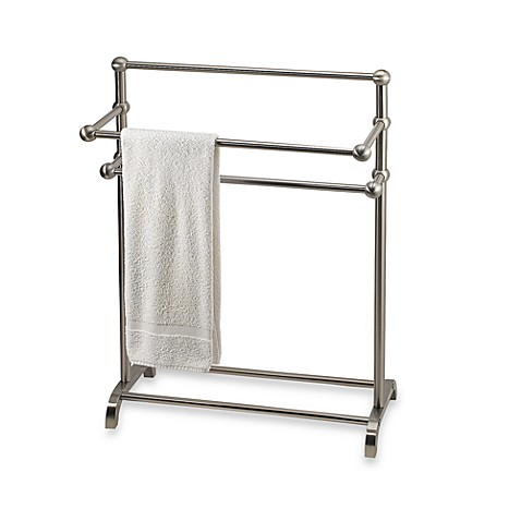 3 Tier Free Standing Towel Stand In Satin Nickel Bed