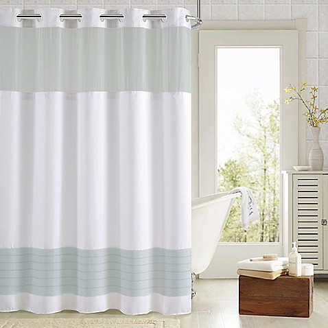 Buy Hookless Aruba Pleats Color Block Shower Curtain In White Aqua From Bed Bath Beyond