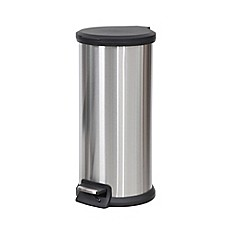 image of SALT™ Round 30-Liter Step-On Trash Can in Silver/Grey