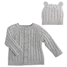 image of Elegant Baby® 2-Piece Classic Cable Knit Sweater and Hat with Ears Set in Grey
