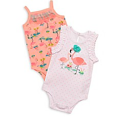 image of Baby Starters® Girly Girl 2-Pack Flamingo Bodysuits in White