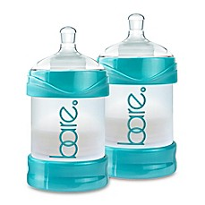 image of BARE® 2-Pack Polypropylene 4 oz. Air-Free Bottles with Easy-Latch Nipples in Turquoise