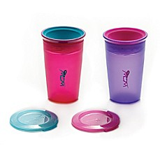 image of Juicy! Wow Cup 2-Pack 9 oz. Spill-Proof Kid's Cup in Pink/Purple