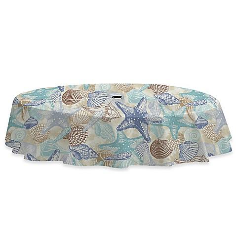 Buy Coastal Shell 70 Inch Round Umbrella Tablecloth In