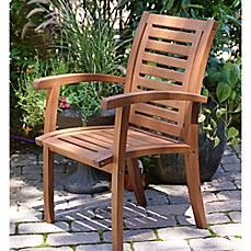 image of Outdoor Interiors® Eucalyptus Outdoor Luxe Arm Chair in Brown Umber