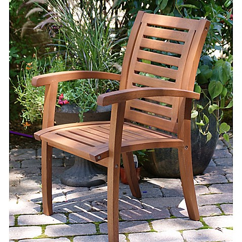 Outdoor Interiors Eucalyptus Outdoor Luxe Arm Chair In