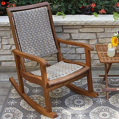 Outdoor Interiorsu0026reg; Eucalyptus And Wicker Outdoor Rocker