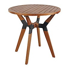 image of Outdoor Interiors® Eucalyptus and Metal 30-Inch Outdoor Bistro Table in Brown Umber