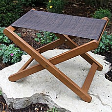 image of Outdoor Interiors® Eucalyptus and Sling Outdoor Ottoman/Stool in Brown Umber