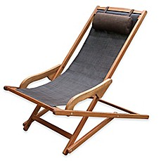 image of Outdoor Interiors® Eucalyptus and Sling Outdoor Swing Lounger with Pillow in Brown Umber