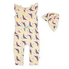 image of Rosie Pope® 2-Piece Flutter Sleeve Bird Print Romper and Turban Set
