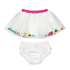 image of Rosie Pope® Pom Pom Tutu and Diaper Cover Set in White/Pink