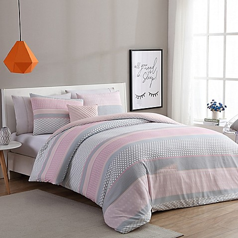 Vcny Home Stockholm Comforter Set In Pink Grey Bed Bath