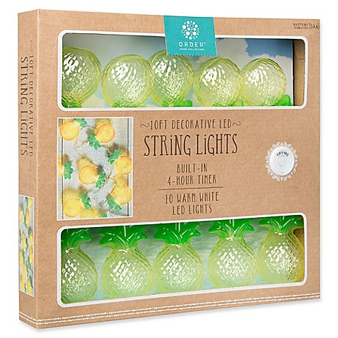 Loft Living 10-Foot 10-Light LED Novelty Pineapples String Lights in Warm White