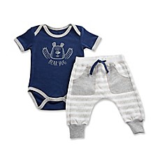 image of Baby Aspen Size 0-6M Baby Bear 2-Piece Pajama Gift Set in White/Blue