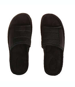 Pantuflas grandes tipo sandalia para hombre Therapedic® en negro