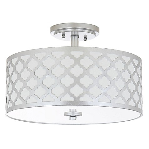 Safavieh kora 3 light flush mount ceiling fixture in silver with cotton shade