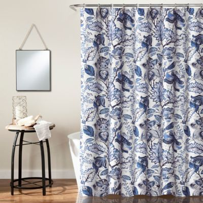 navy floral shower curtain | Bed Bath & Beyond