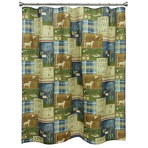 Bacova Live Love Lake Shower Curtain in Green/Blue - Bed Bath & Beyond