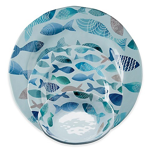Tag Fish Melamine Dinnerware Collection In Blue Bed Bath
