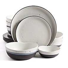 image of Gibson Elite Rhinebeck Double Bowl 16-Piece Dinnerware Set in White/Black