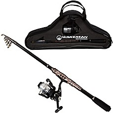 image of Wakeman Carbon Fiber/Steel Ultra Telescopic Spinning Rod and Reel Combo in Black/Silver