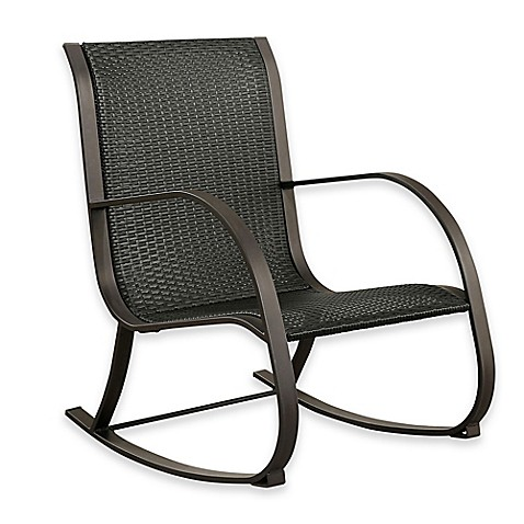 Abbyson Livingu0026reg; Gabriela Outdoor Wicker Rocking Chair In Black