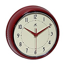 image of Retro Metal Wall Clock in Red