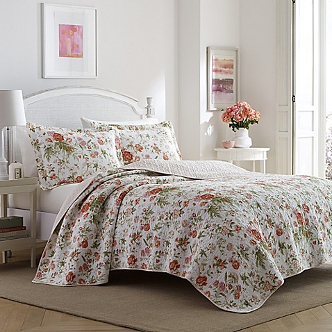 Buy Laura Ashley 174 Breezy Floral Twin Quilt Set In Light