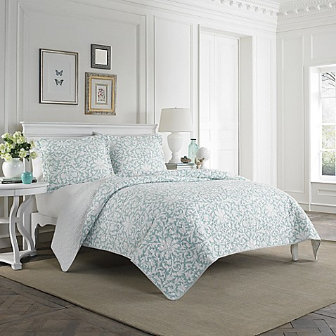 Laura ashley mia quilt set in light blue bed bath beyond laura ashleyreg mia quilt set in light blue gumiabroncs Image collections