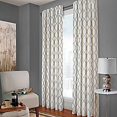 image of Designer's Select Claudia Geo Back Tab Window Curtain Panel in White/Charcoal