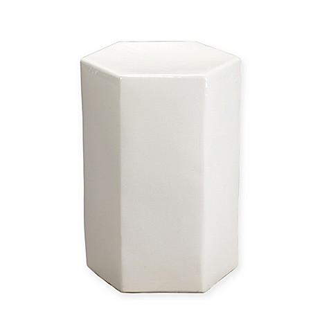 Porto Ceramic Small Drum Table Stool In White