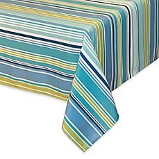 Capri Stripe Indoor/Outdoor Tablecloth In Aqua