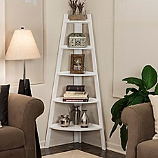 image of Wood 5-Tiered Corner Ladder Bookcase in White