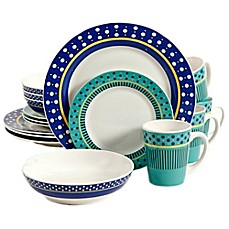 image of Gibson Home Lockhart 16-Piece Dinnerware Set in White/Blue