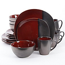 image of Gibson Elite Volterra 16-Piece Dinnerware Set in Red