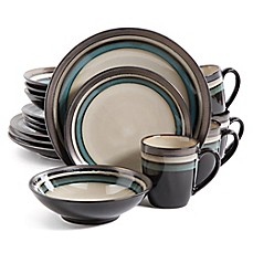 image of Gibson Elite Lewisville 16-Piece Dinnerware Set in Teal