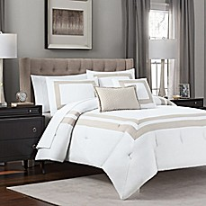 image of double banded 5piece hotel style comforter set