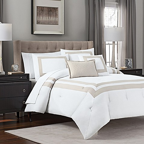 Double Banded 5 Piece Hotel Style Comforter Set Bed Bath