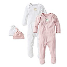 image of Burt's Bees Baby® 4-Piece Organic Cotton Footie and Hat Set in Pink/White