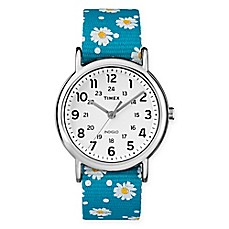image of Timex® Ladies' 38mm Weekender Watch in Silvertone with Floral Nylon Strap