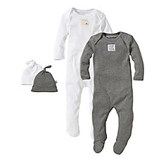 image of Burt's Bees Baby® 2-Pack Footie Pajama with Hat in Grey