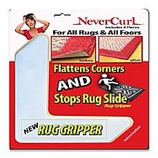 image of NeverCurl 4-Piece Anti-Curl Rug Corners with Gripper