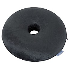 Image Of Bluestone Memory Foam Donut Cushion With Zippered Cover In Grey